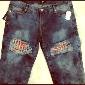 Pants - Distressed American Flag Bermuda shorts